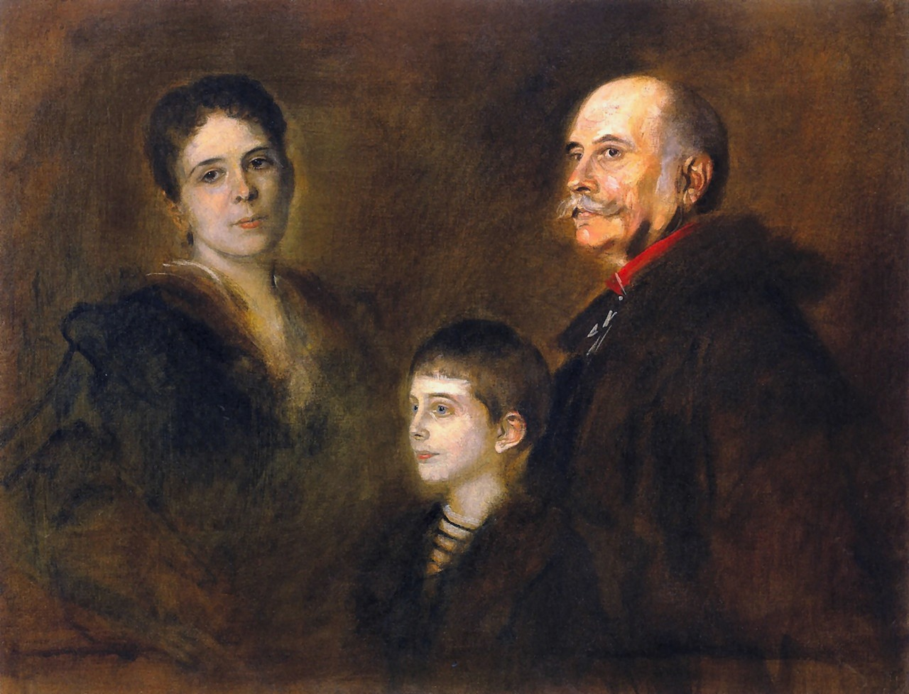 Franz  von  Lenbach  general  von  hartmann  with  wife  and  son