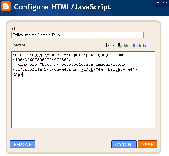 Blogger Configure HTML/Javascript gadget