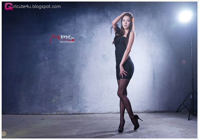 3 Ju Da Ha - Black Mini Dress-very cute asian girl-girlcute4u.blogspot.com