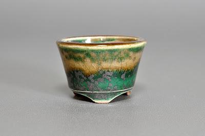 織部釉丸盆栽鉢(Oribe glaze bonsai pot)h2178