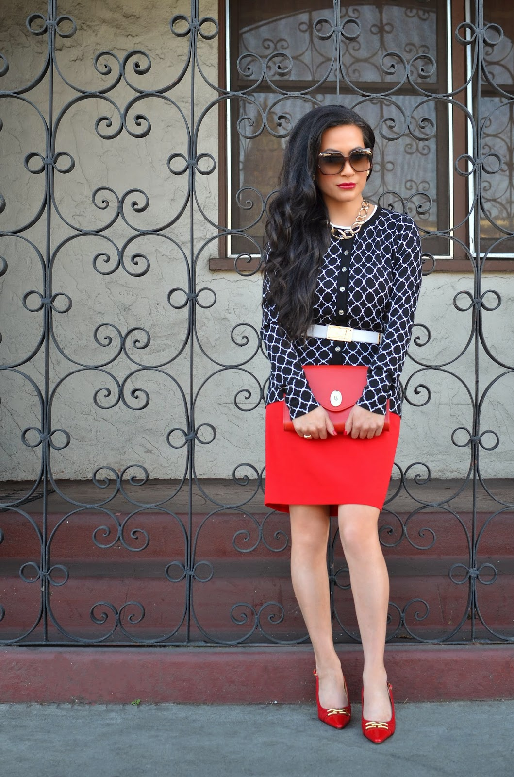 St. Thomas Gold Link Necklace St. John Knits White Belt Red Pencil Skirt Charter Club Navy Sweater Cardigan Macy's red pencil skirt Karen Scott Red and Gold Shoes Christian Dior Red Handbag Vintage Christian Dior Gucci Sunglasses