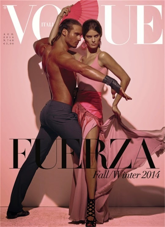 Isabeli Fontana in a pink Ralph Lauren dress on the Vogue Italia August 2014 cover