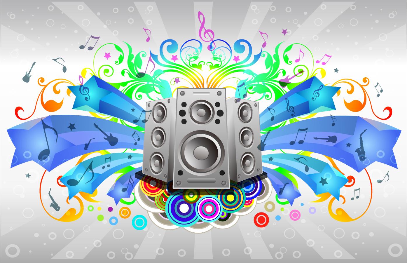 音楽をテーマにした背景 Music Sound System イラスト素材