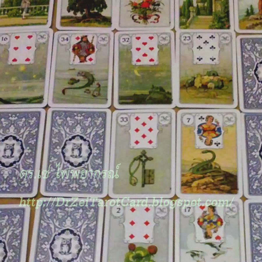 Big Picture Blaue Eule Lenormand Card Spread การวางไพ่ป๊อก การเรียงไพ่ป๊อก วางไพ่ยิปซี ไพ่เลอนอร์มองด์ 36 ใบ ไพ่ทั้งหมด ภาพ ไพ่ยิปซี Playing Cards