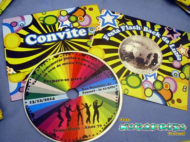 Convites CD Personalizado - Festa Flash Back