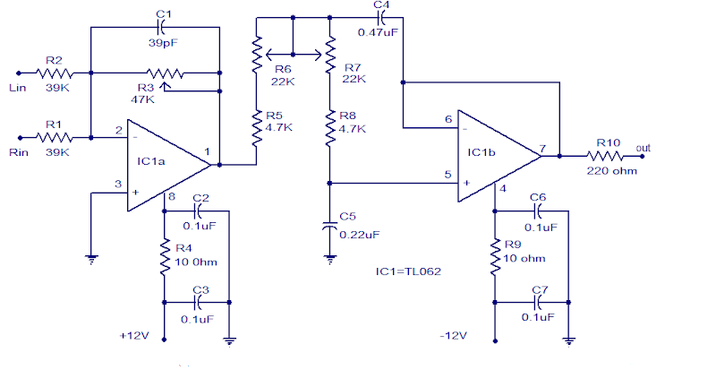 Subwoofer Low Pass Filter using TL062