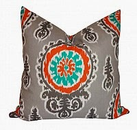 Orange and Grey Suzani Patio Pillows
