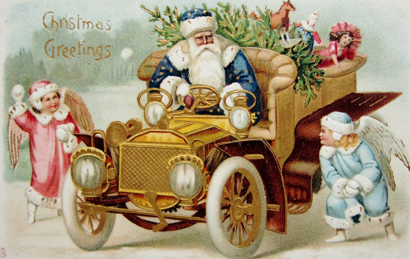 SANTA CLAUS With No Sleigh CHRISTMAS Postcards
