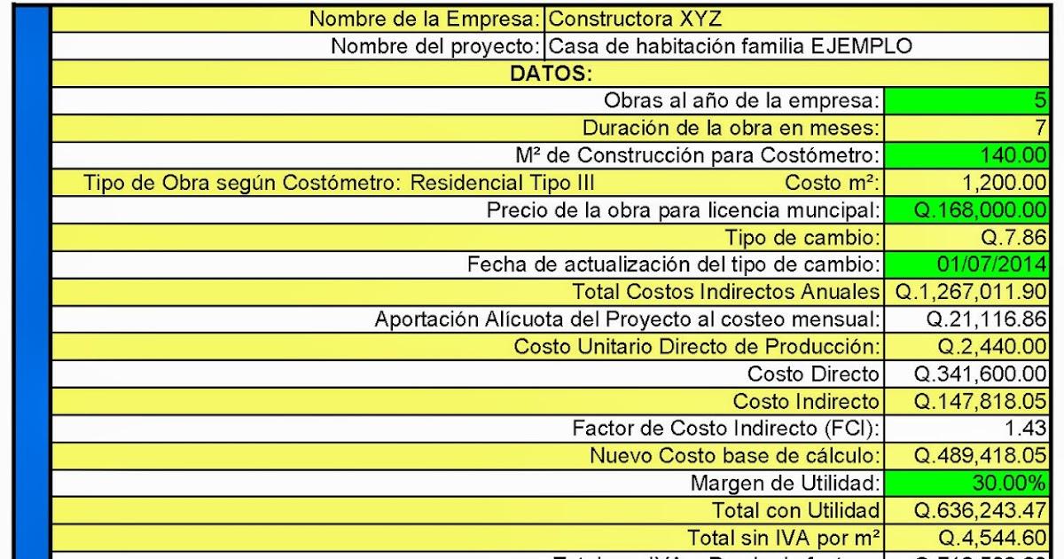 Farusac remoto costos indirectos en la construcci n for Costo de la construccion