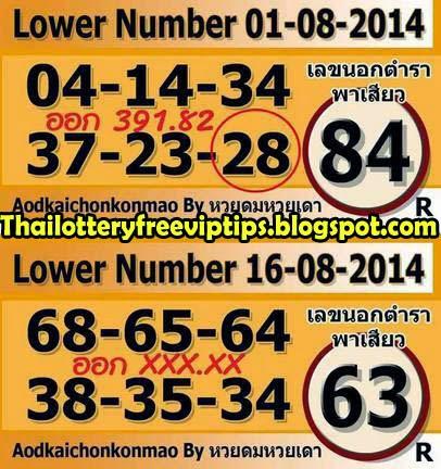 Thai Lottery VIP Down Tip Paper 16-08-2014