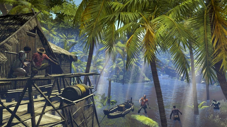 Dead Island Riptide game review picture of beach outs over water that has zombies in it
