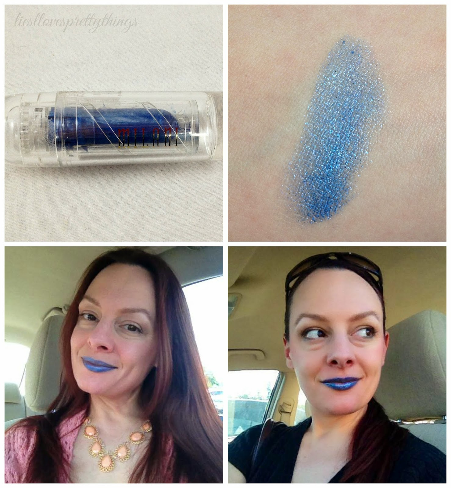 Milani Bella Blue lipstick swatch and review