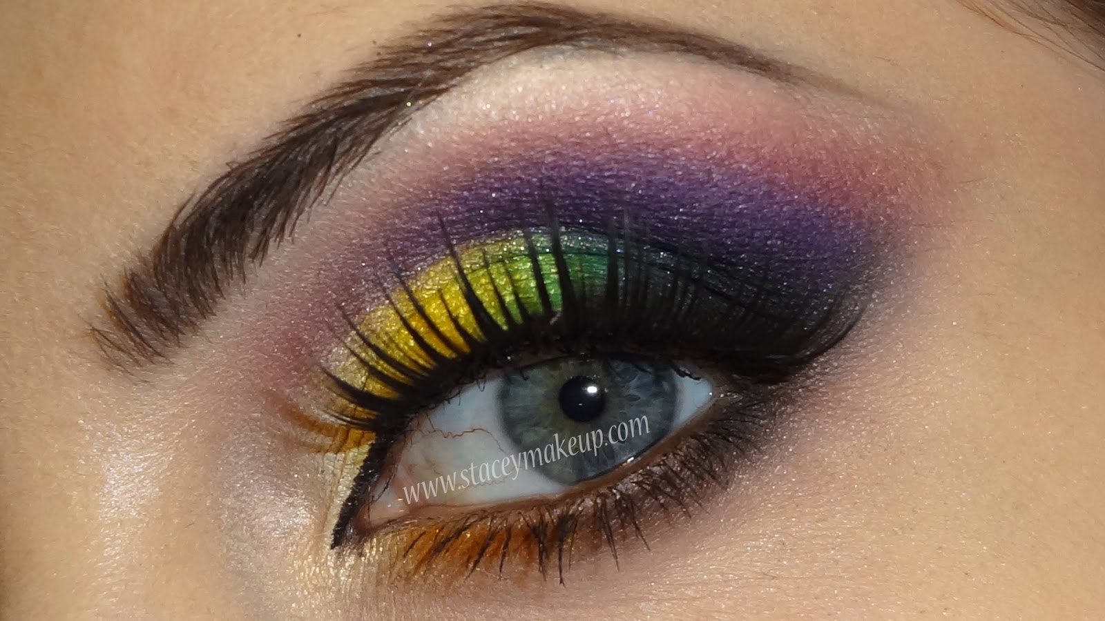 purple and yellow makeup tutorial