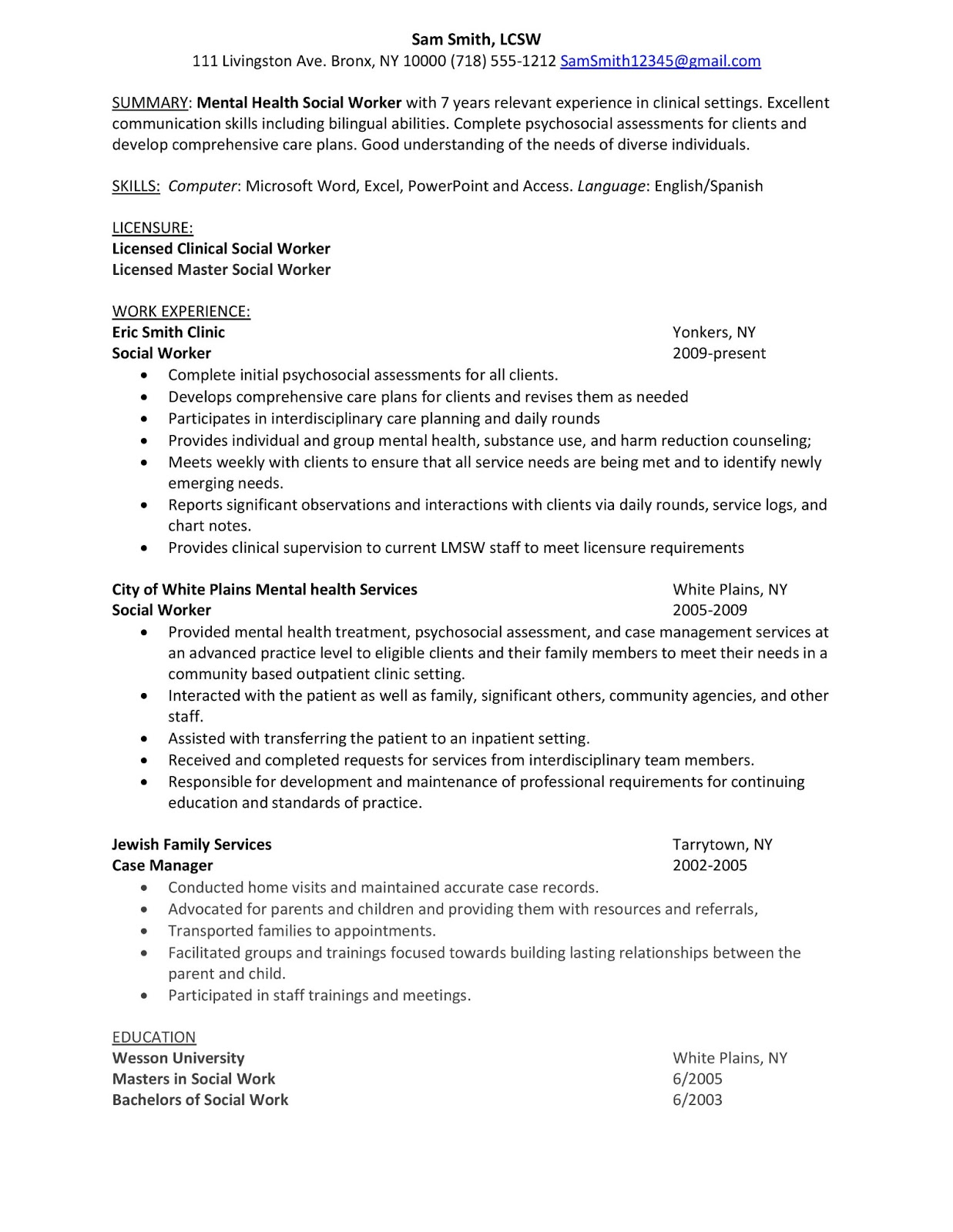 sample resume mental health social worker winning