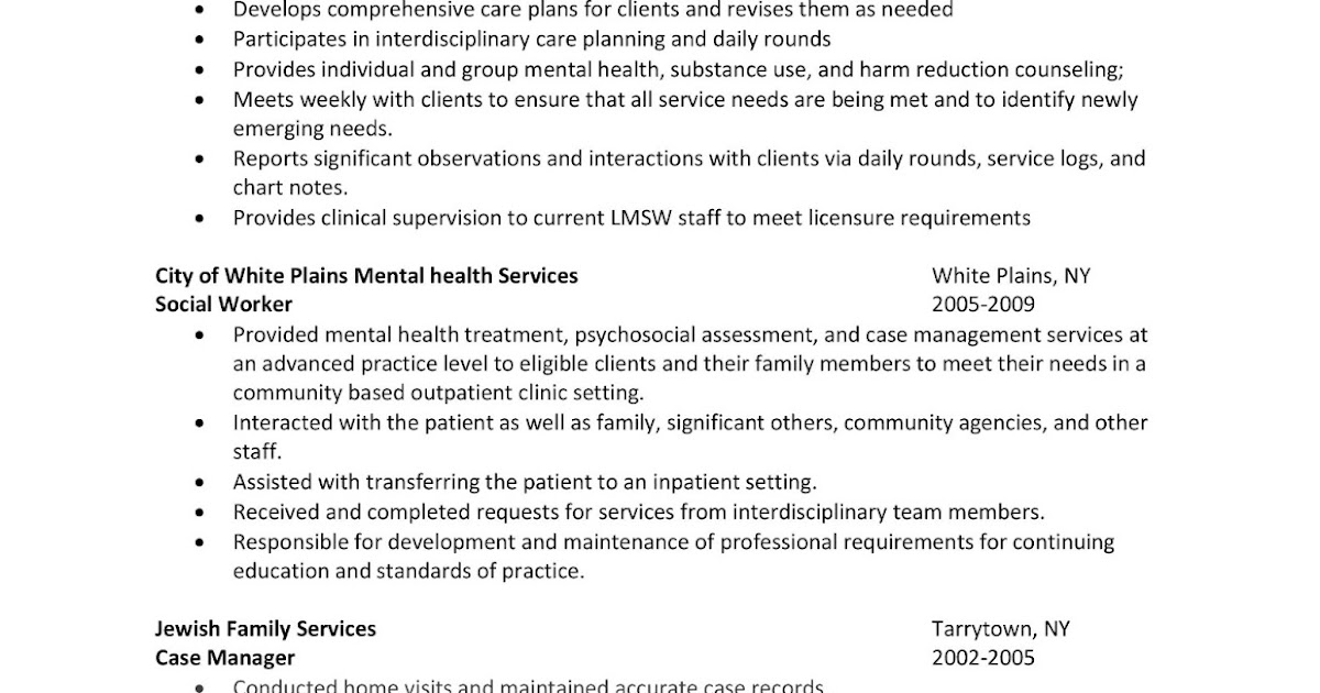 mental health worker sample resume social worker sample resume