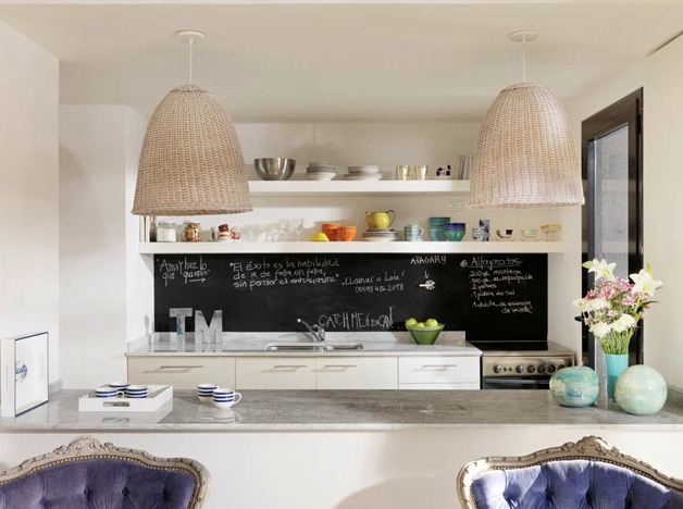 Peque os detalles martes deco una pared de pizarra en la - Pizarra de cocina ...
