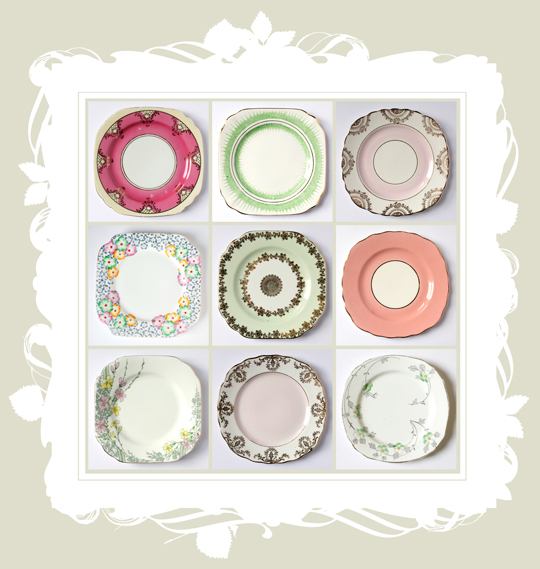 nine deco and floral vintage side plates in a illustrated frame