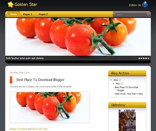 Golden Star Blogger Template