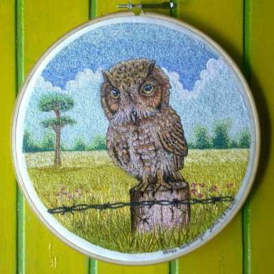 owl embroidery art