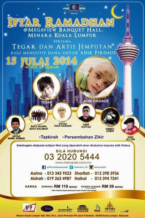 Iftar Ramadhan at Menara Kuala Lumpur to Raise Funds for Adik Firdaus