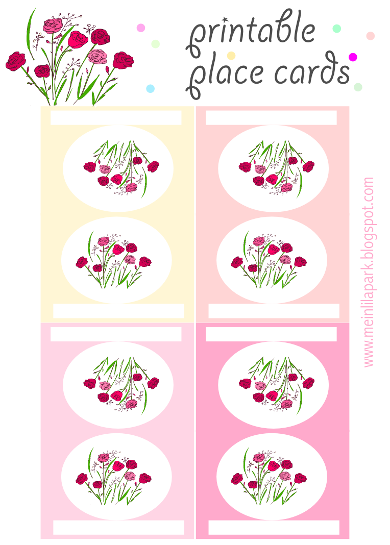 free printable place cards with roses ausdruckbare tischkarten freebie meinlilapark