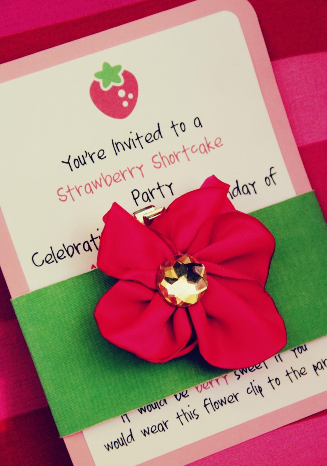 Strawberry Shortcake Party Invitation -