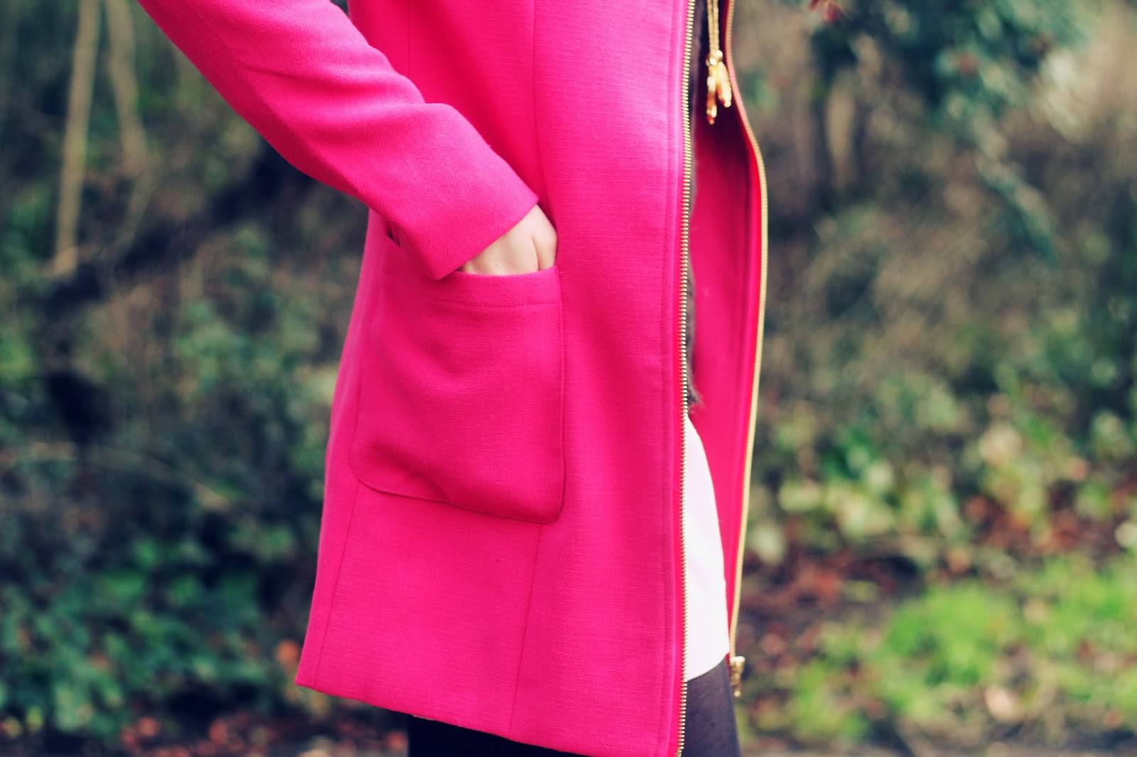 pink bright jacket pockets