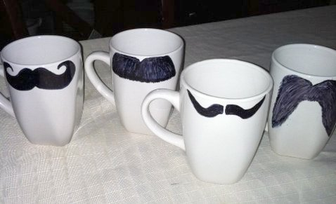 hoyby crafts decorate your own mustache mugs. Black Bedroom Furniture Sets. Home Design Ideas