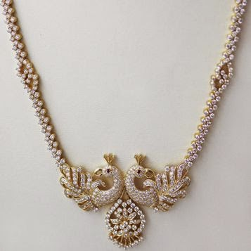 diamond peacock necklace
