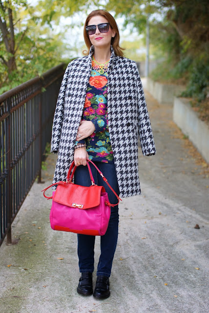 Marc by Marc Jacobs Memphis two tone bag, chicwish coat, floral sweatshirt, Fashion and Cookies, fashion blogger
