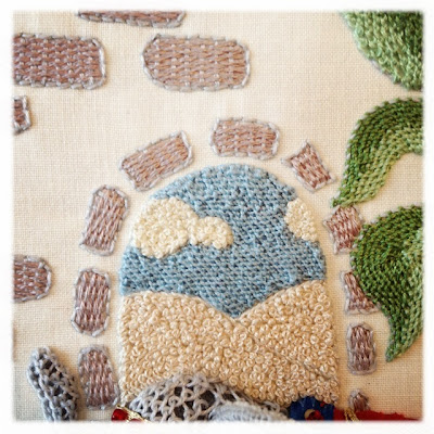Stumpworkbroderi. Franske knuder. French knots, detached buttonhole filling, weaving embroidery.