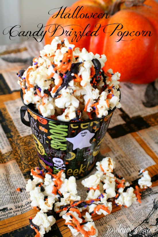 Halloween Candy Drizzled popcorn - so easy and sure to please