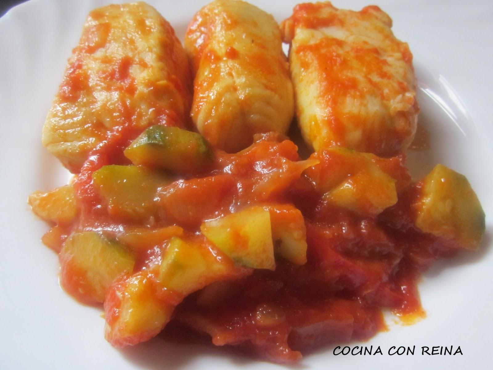 Lomos de merluza en salsa de dieta cocina con reina - Cocinar lomos de merluza ...