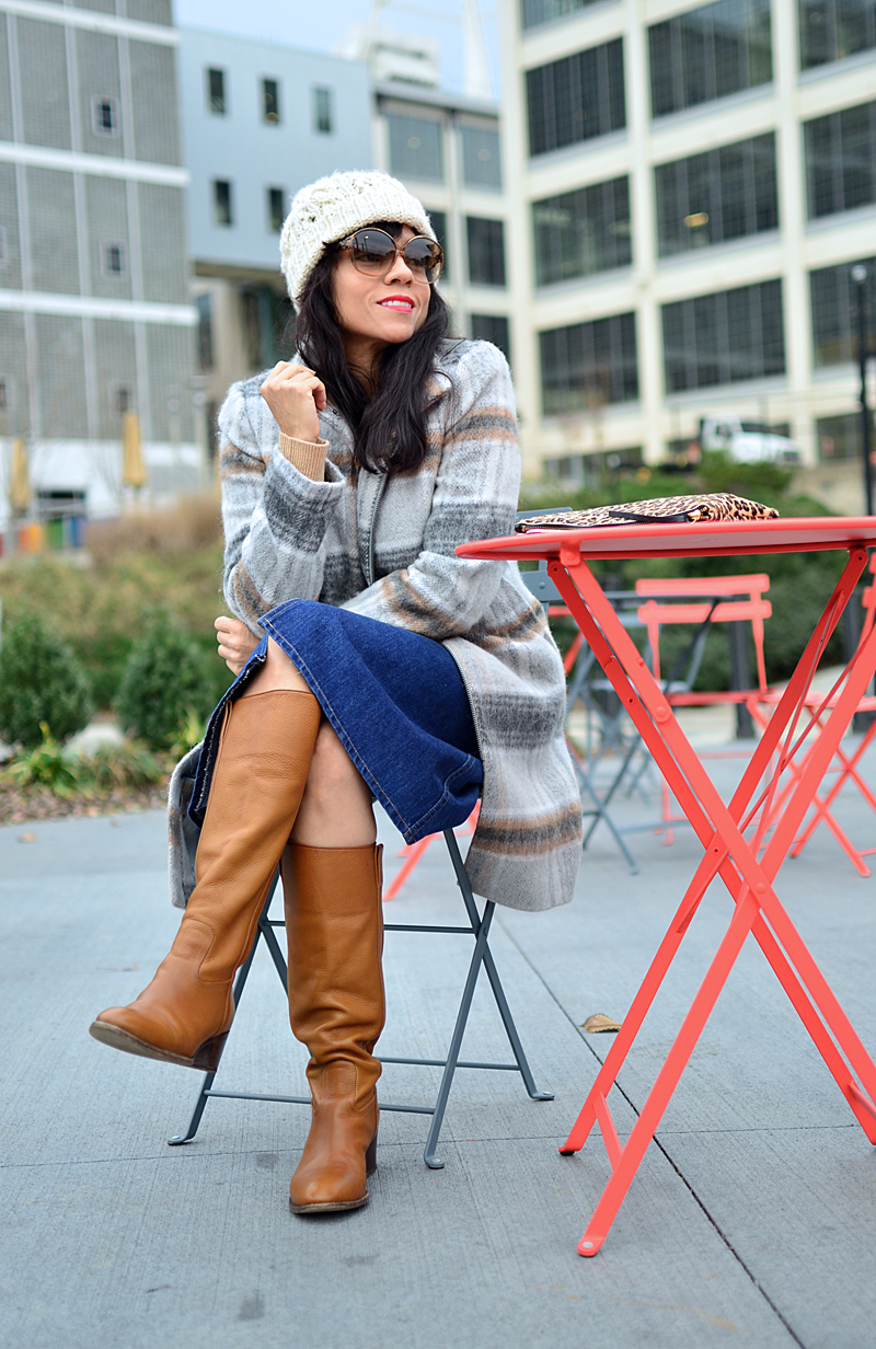 Camel with gray street style