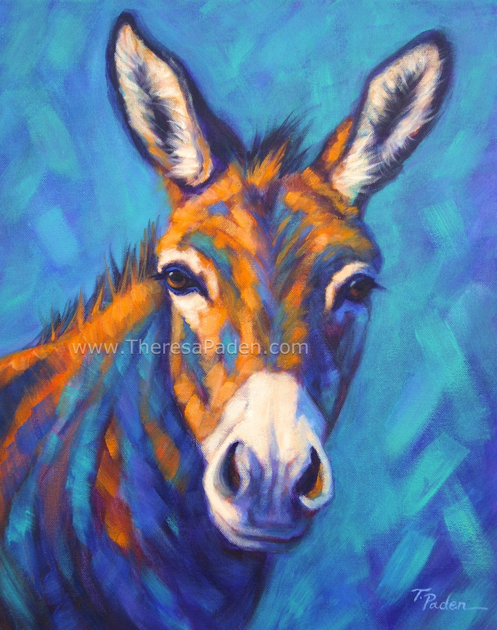 Donkey Painting In Bright Colors By Theresa Paden
