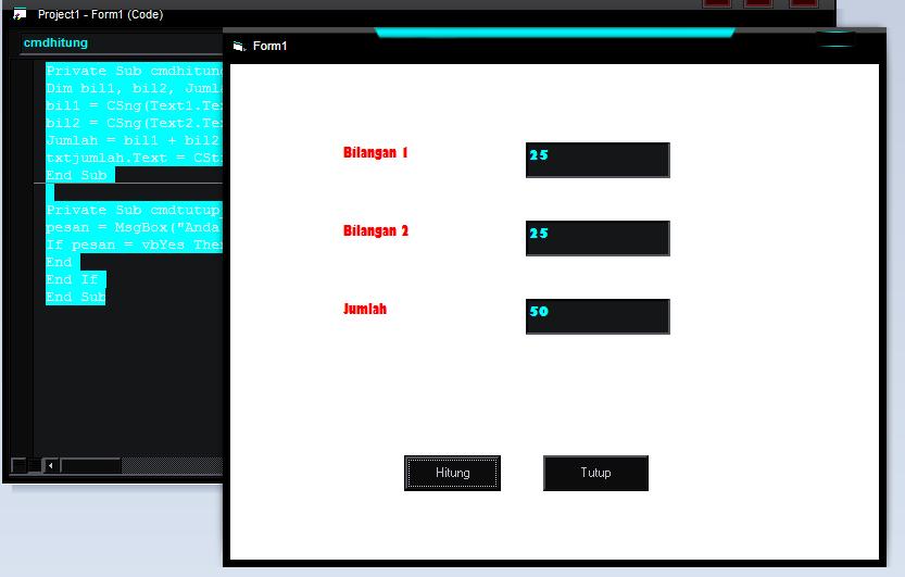 Membuat Program Kalkulator sederhana Menggunakan Visual Basic
