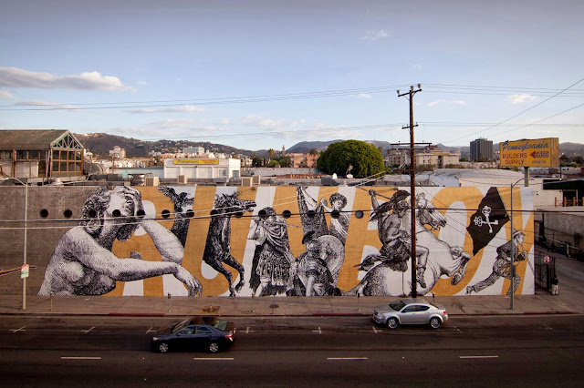 Street Art By American Urban artists Cyrcle And French singer Woodkid in Los Angeles, USA. 1