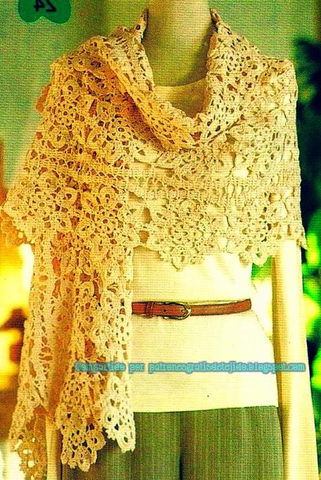 Chal diseño floral al crochet