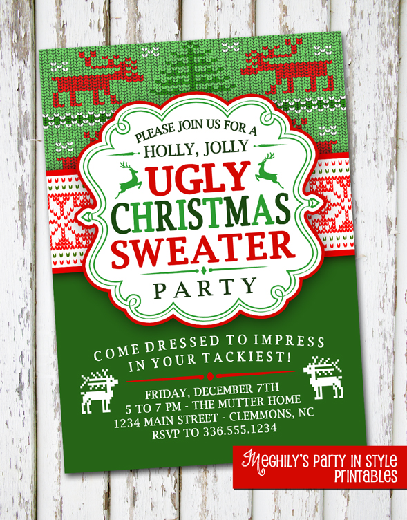 Meghilys UGLY CHRISTMAS SWEATER INVITATION
