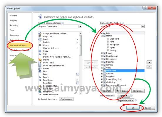Gambar: Cara memunculkan atau menyembunyikan tab ribbon di Microsoft Word