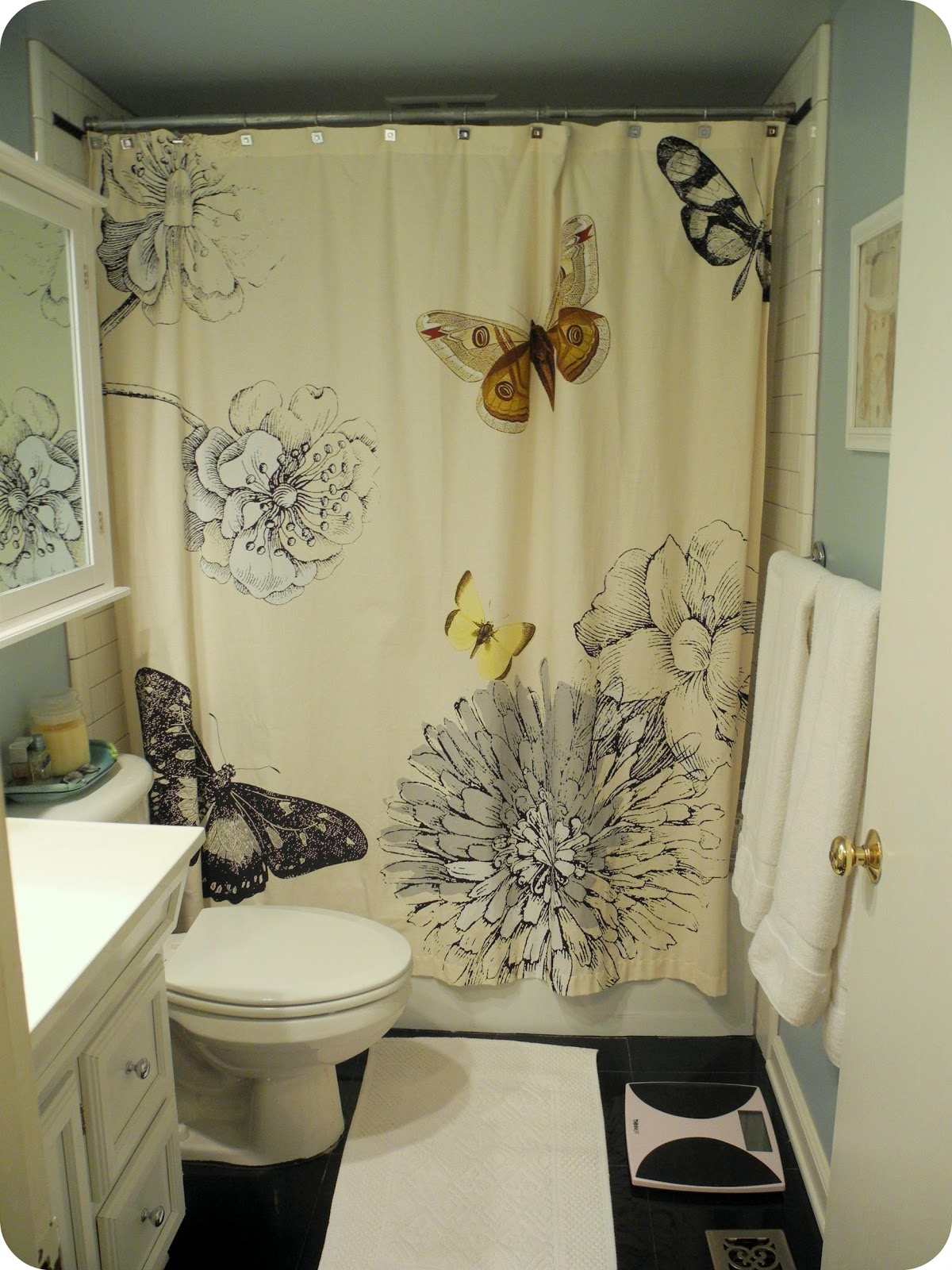 Simple I Live Here Black White and Blue Bathroom with Butterflies And Gary Oldman
