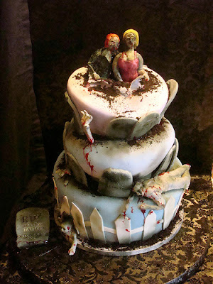 zombie wedding cake, halloween wedding, theme wedding