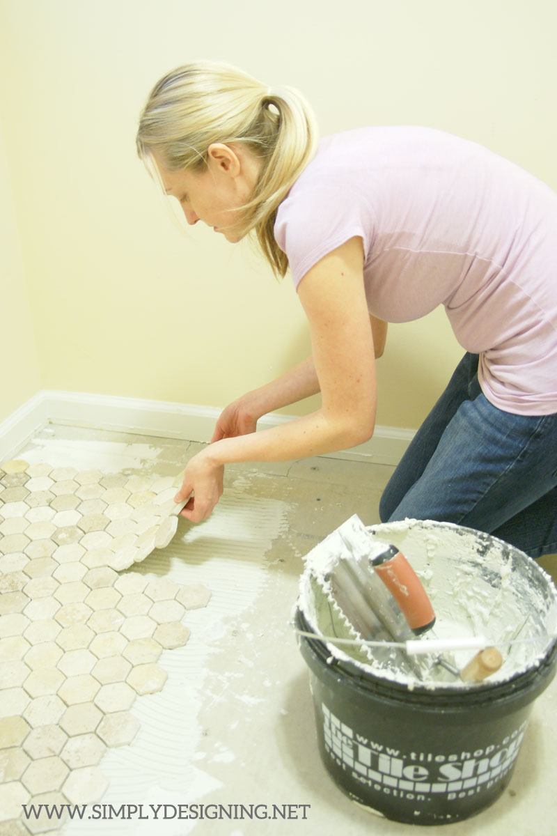 How to Lay Tile | a complete tutorial for how to demo, prep, install concrete backer board and install new tile floors | #diy #tile #homeimprovement #hexagontile #travertine #thetileshop @thetileshop