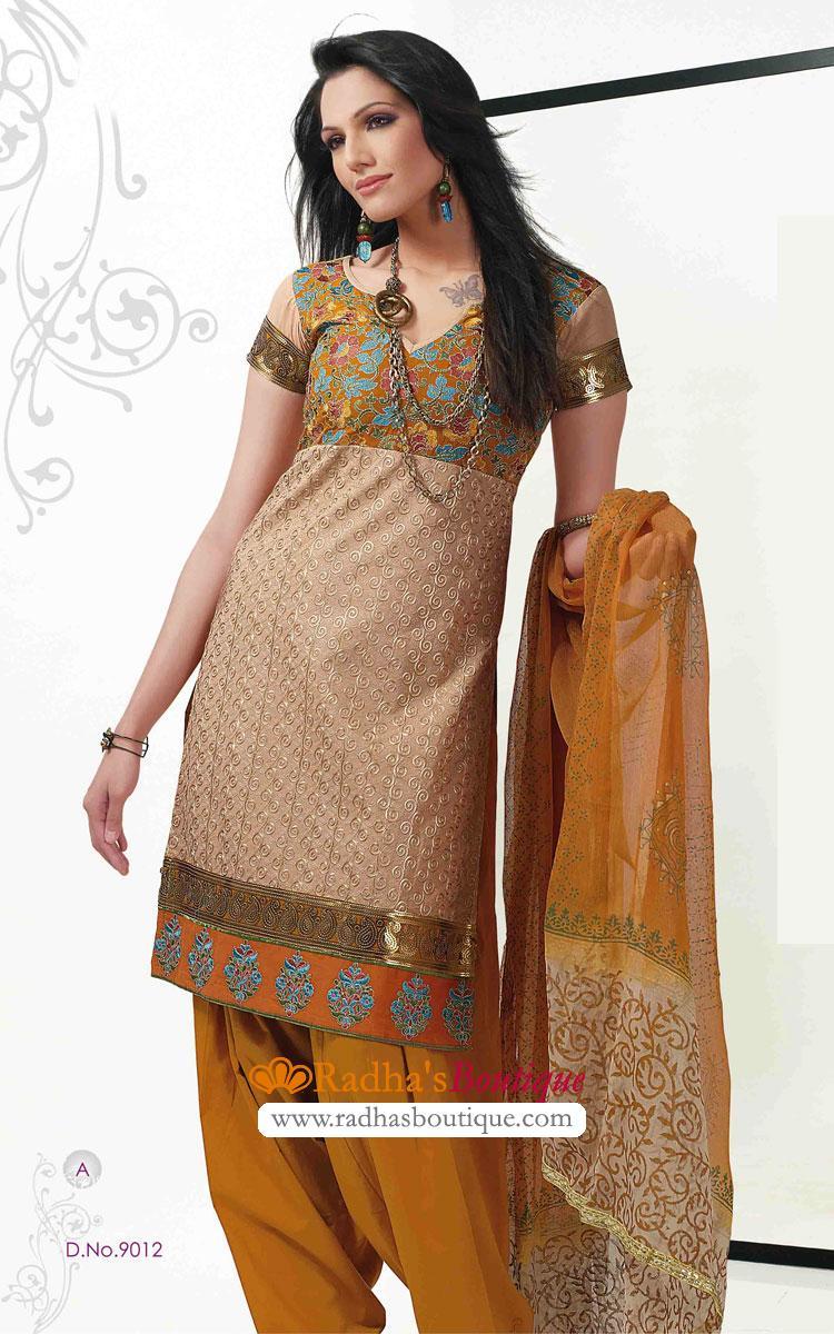 Hairstyle For Long Hair On Salwar Kameez : salwar/party-salwar-kameez/beige-and-musrard-cotton-salwar-kameez