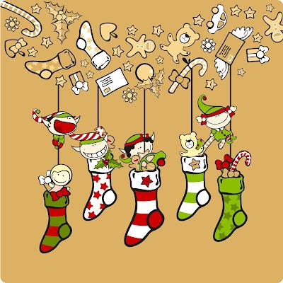 Postal navideña con adornos colgados en ilustración de Navidad