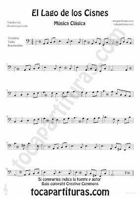 Tubepartitura El Lago de los Cisnes de Piotr IIich Tchaikovski Partitura para Trombón, Tuba y Bombardino Música Clásica