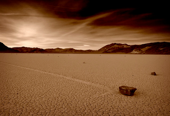 The sailing stones of Racetrack Playa in Death Valley