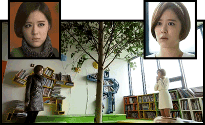 Jang Yi Kyung and Na Doo Rim stare at each other across a reading room.