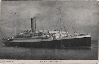 Vintage postcard of the Royal Mail Steam Packet ship, Araguaya