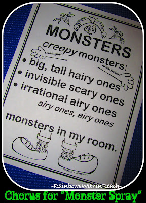 "photo of: Chorus Lyrics for ""Monster Spray"" by Debbie Clement of RainbowsWithinReach"